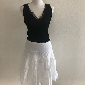 Bebe White Ruffle Skirt Size S